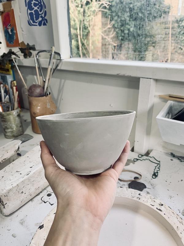 Glazed bowl ready for firing