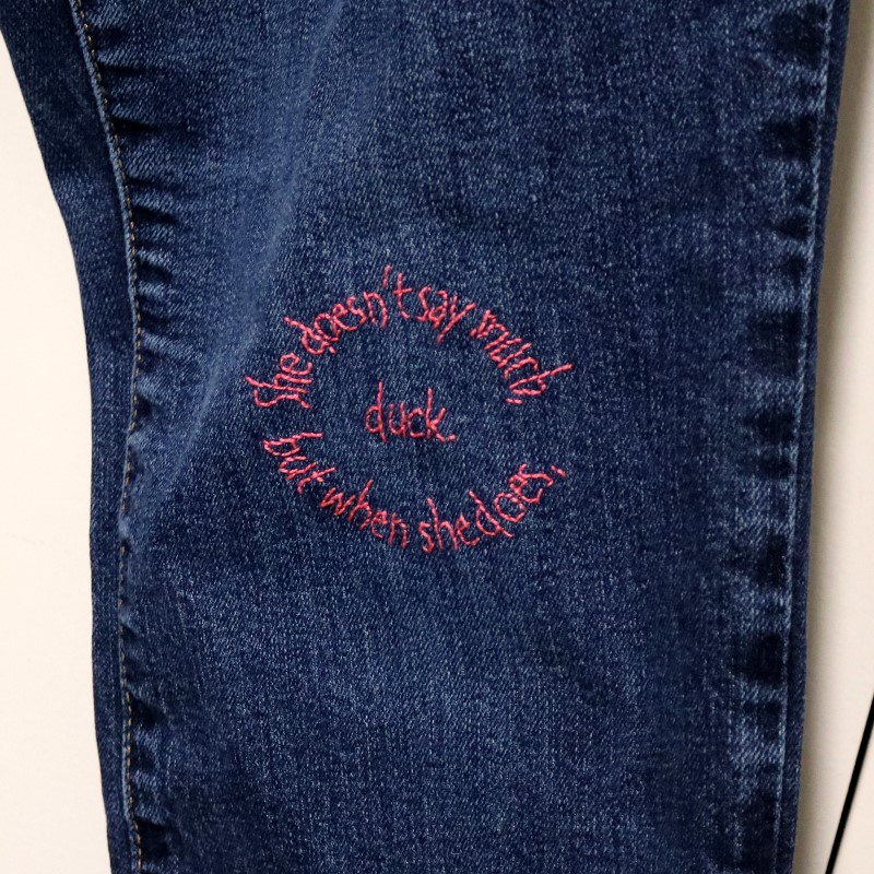 How to Embroider Letters-Stabilizer Washes Away from Upcycled Jeans
