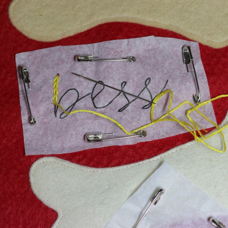 How to Embroider Letters-Chain Stitch Through All Layers