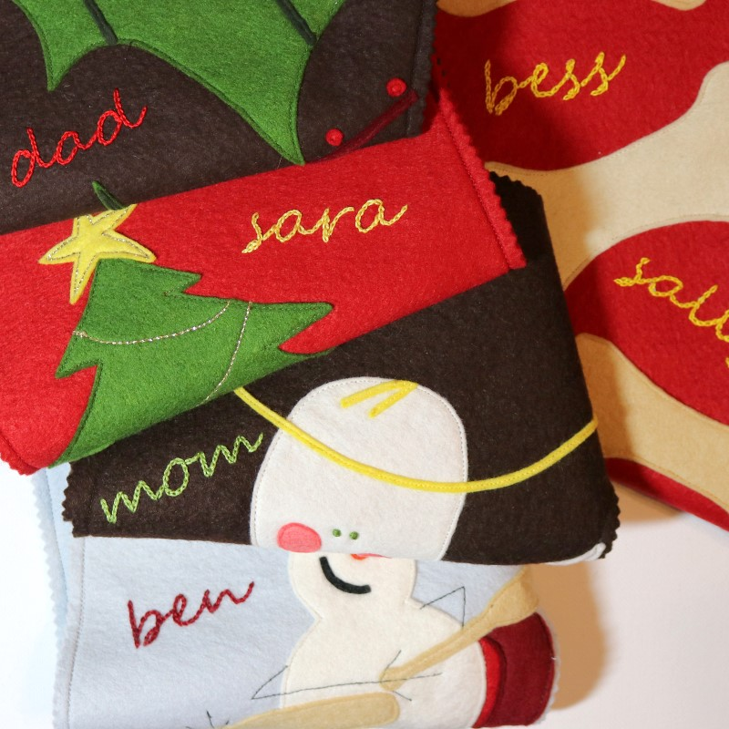 How to Embroider Letters-Embroidered Letters on Felt Stockings