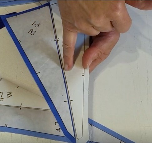 Showing the cut lines on the freezer paper