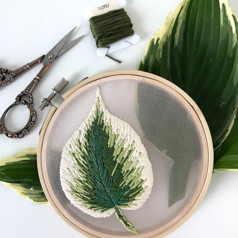 Embroidered Hosta leaf