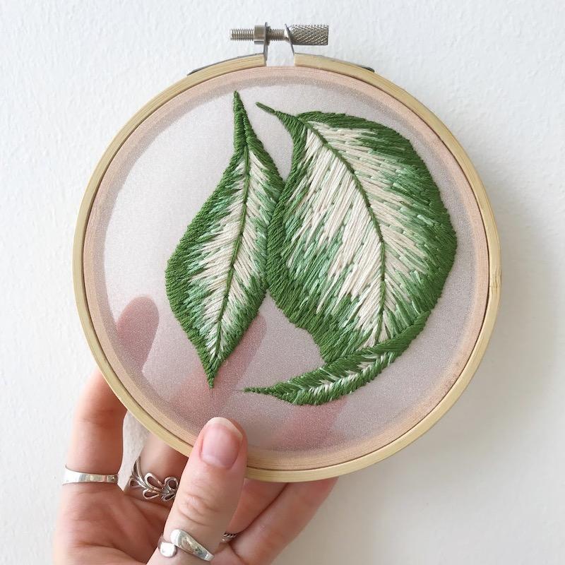 Embroidered leaf