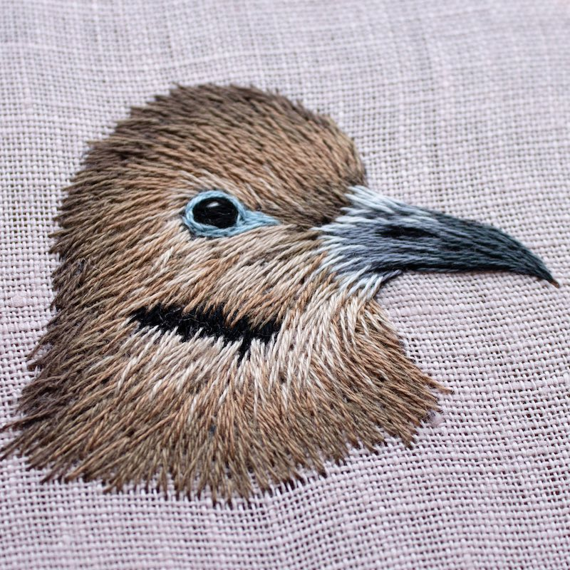 Morning dove embroidery