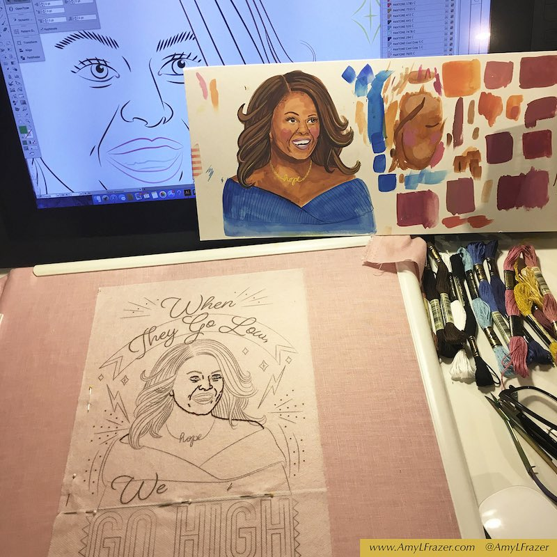 Pulling together supplies to stitch Michele Obama