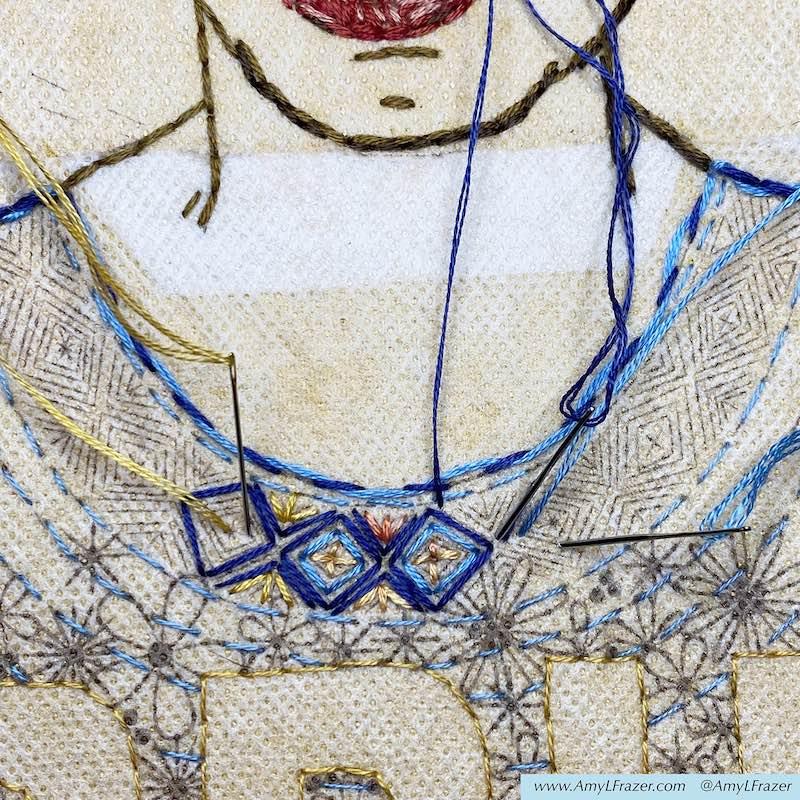 Close up of stitching neckline for Frida