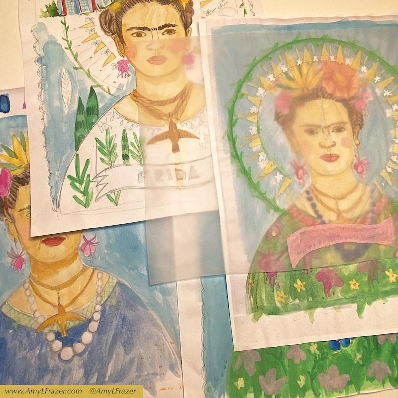 Variety of sketches of Frida