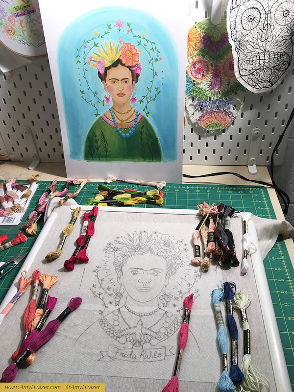 Illustration and sketch and thread for Frida