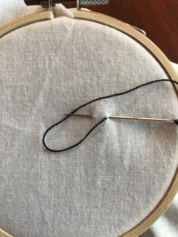 Starting to chain stitch embroider
