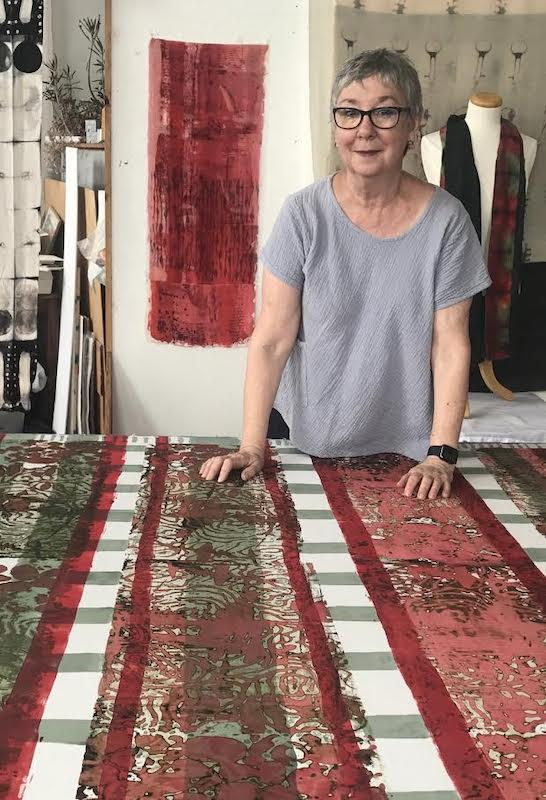 Dianne at her print table