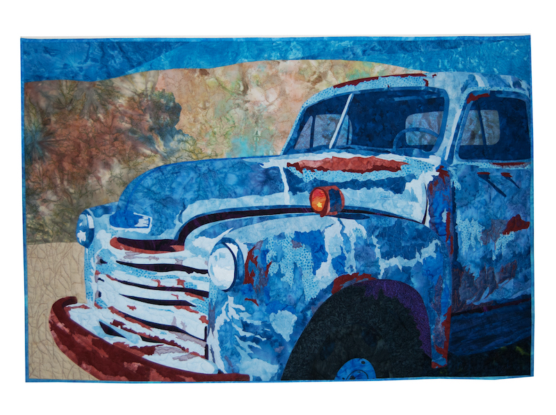 Old Blue art quilt