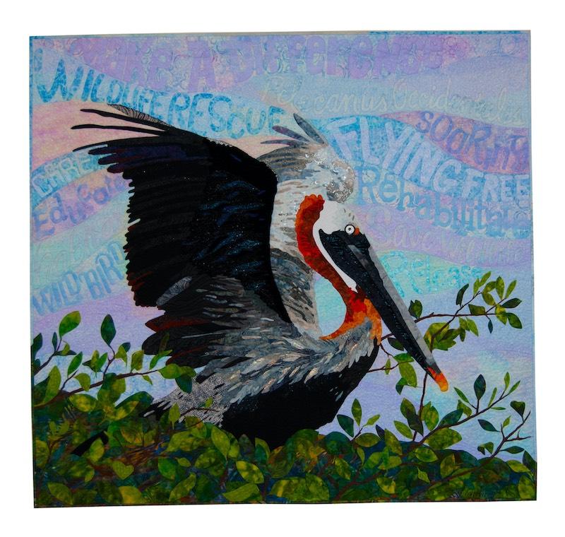 Pelican Rescue art quilt