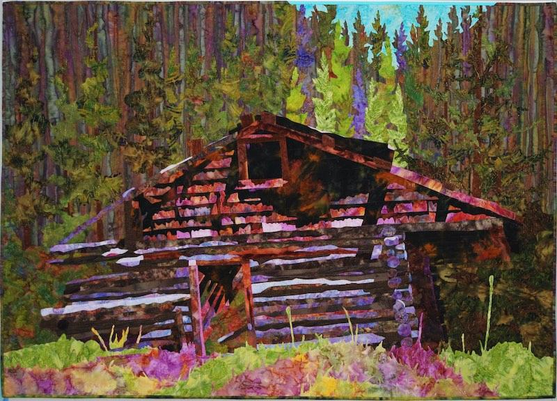 Old Pecos Cabin art quilt