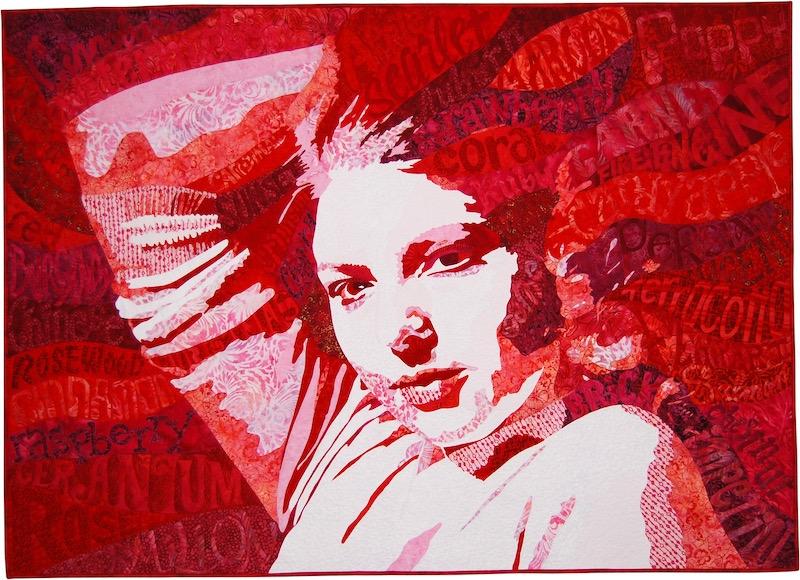 Romancing Red art quilt