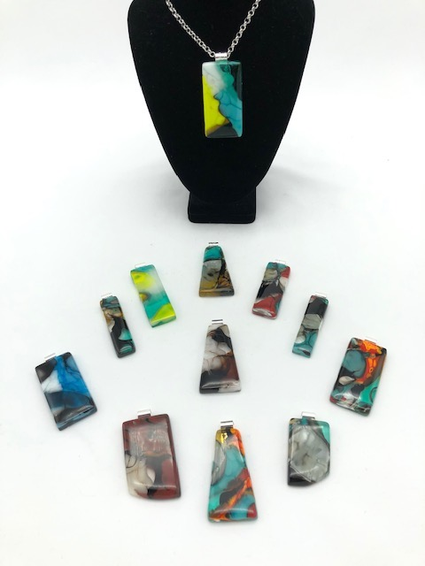 Collection of fused glass necklaces