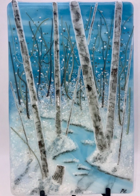 Fused glass snow scene