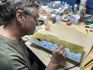 Peter working on a fused glass piece