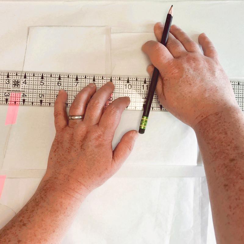 Sonya drafting a pattern