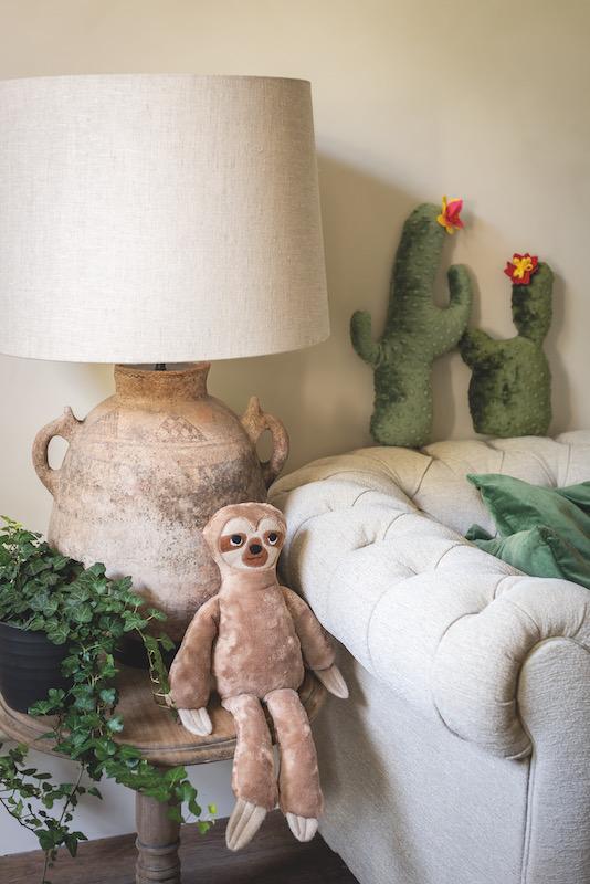Stuffed cactus and sloth