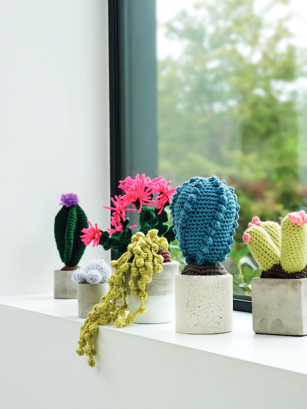 Crochet cactus on a windowsill