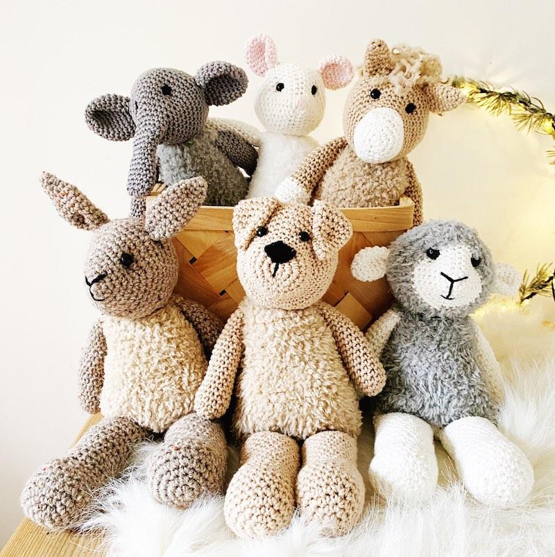 Group of crochet animals