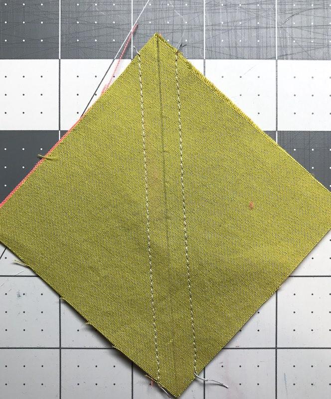 Both seams sewn, ready to be cut