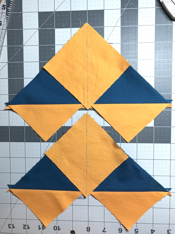 No Waste Flying Geese Final square sewn down
