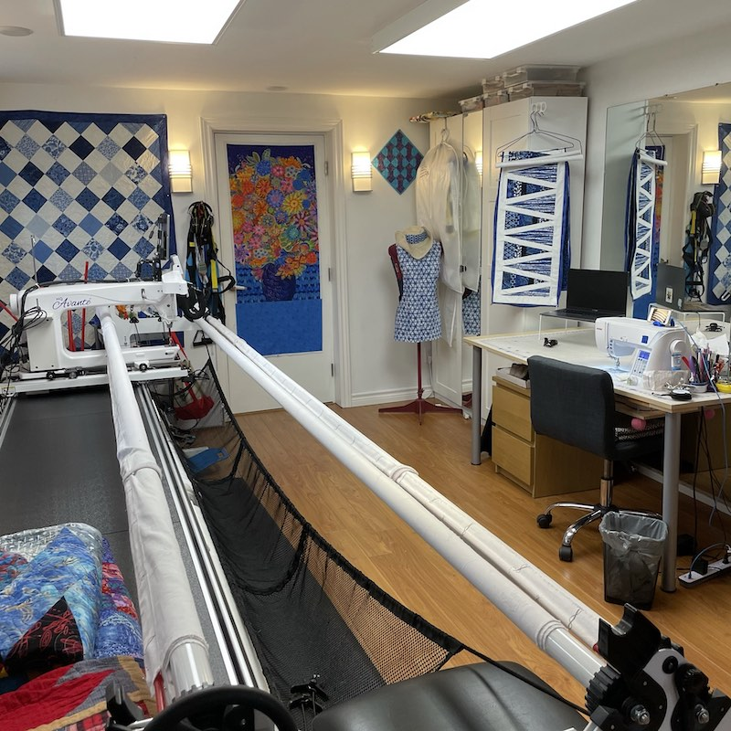 Showing Rose's longarm and sewing table