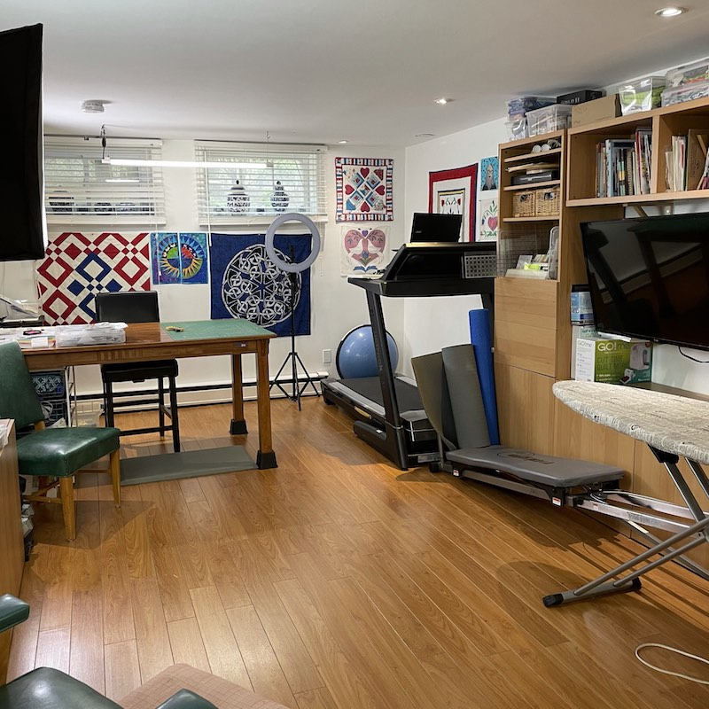 Rose's cutting table, office and treadmill desk