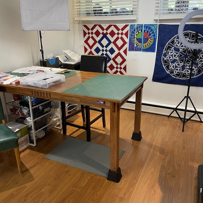 Rose's studio desk and cutting table