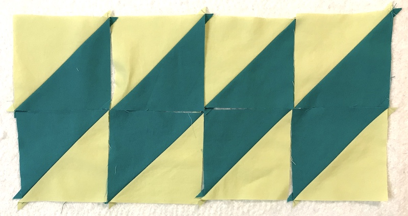 Finished half square triangles made eight at time layout 2