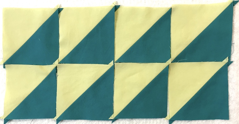 Finished half square triangles made 8 at a time layout 1