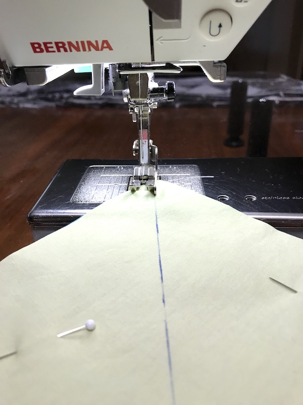 Sewing the first seam