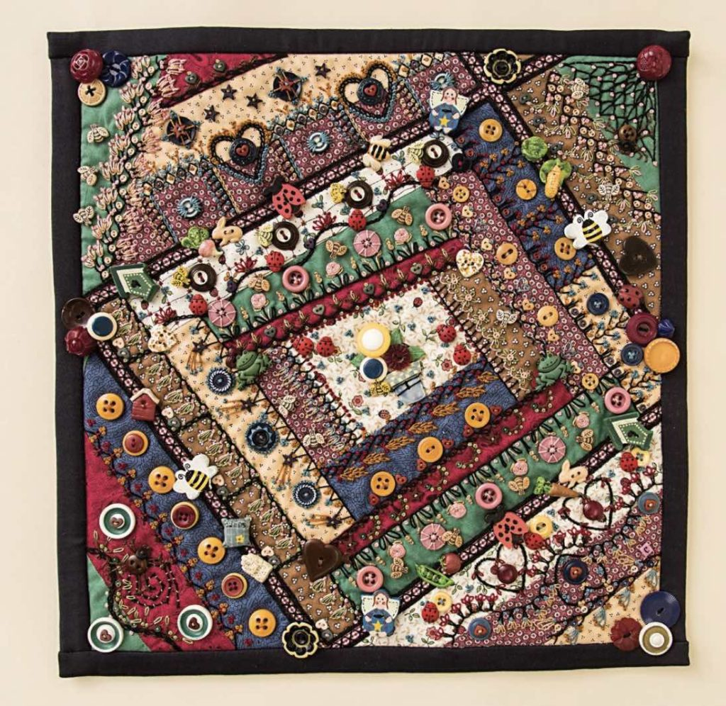 Crazy quilt block with embroidery and buttons