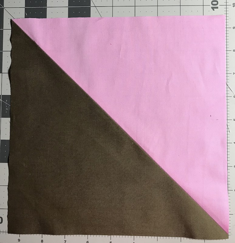 """Half square triangles two at a time from a layer caked trimmed to 9-1/2"""""""