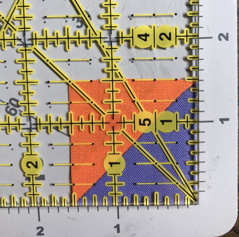 """Half square triangles eight at a time from a charm pack trimmed to 1-1/2"""" finish"""