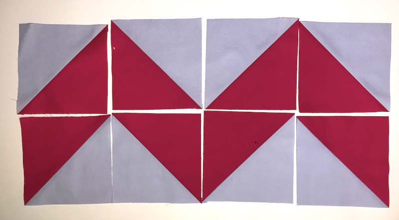 Half Square Triangles eight at a time layout 3