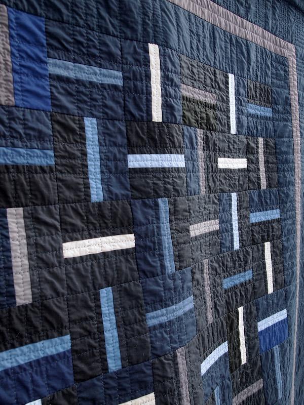 Close up blue quilt