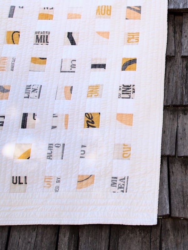 Close up of flour sack quilt