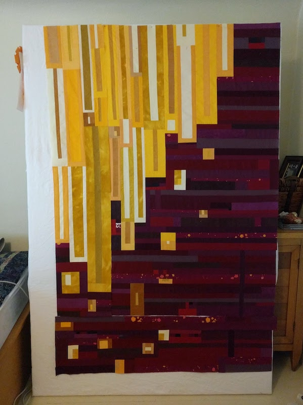 Gold and burgandy quilt