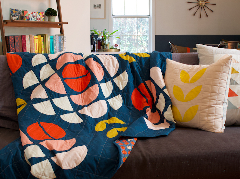 Broadcast quilt as a couch throw