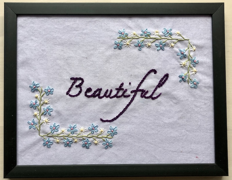 Beautiful word embroidery