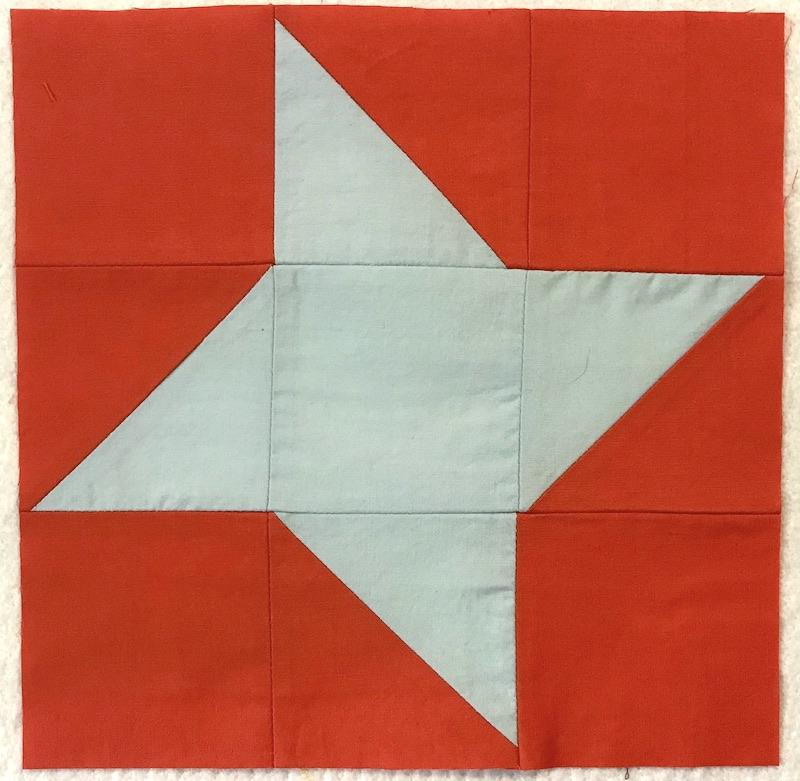 Friendship star quilt block finished