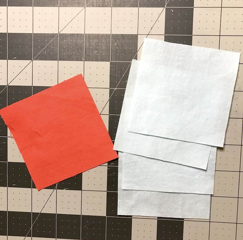 Cut 5 squares for the friendship star quilt block
