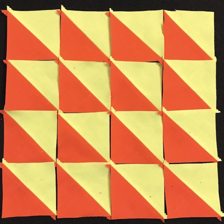 half square triangle from a jelly roll layout 1