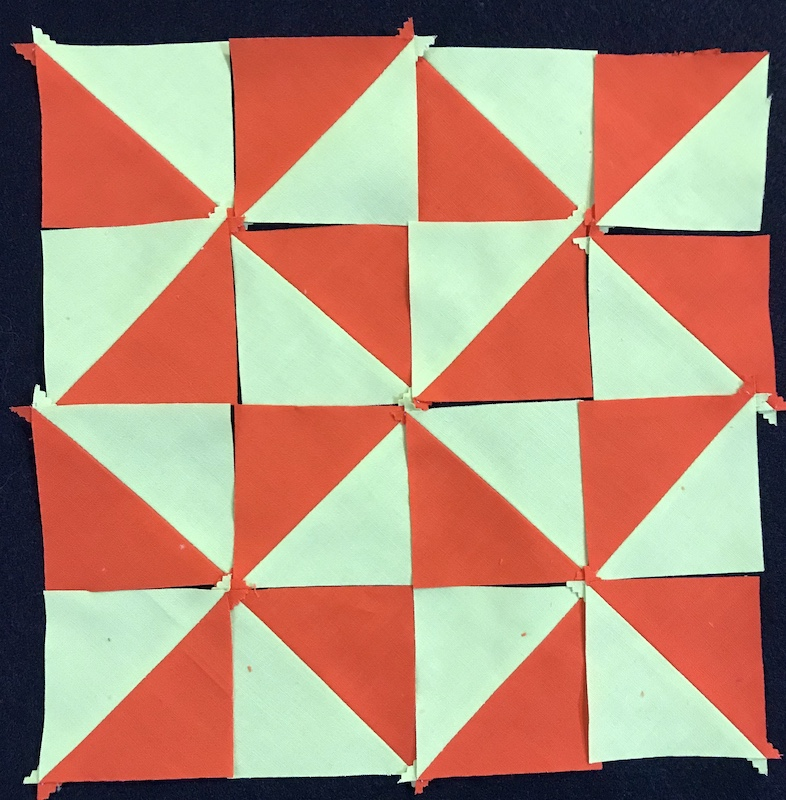 half square triangle from a jelly roll layout 2