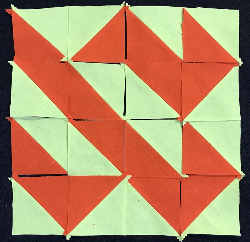 half square triangle from a jelly roll layout 3