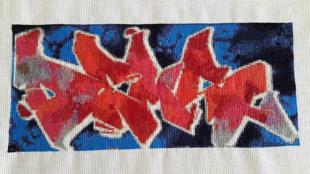 DEMS graffiti cross stitch