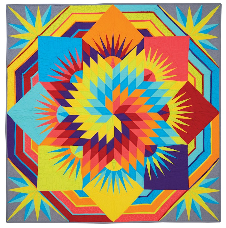 Lone Star quilt in solid fabrics