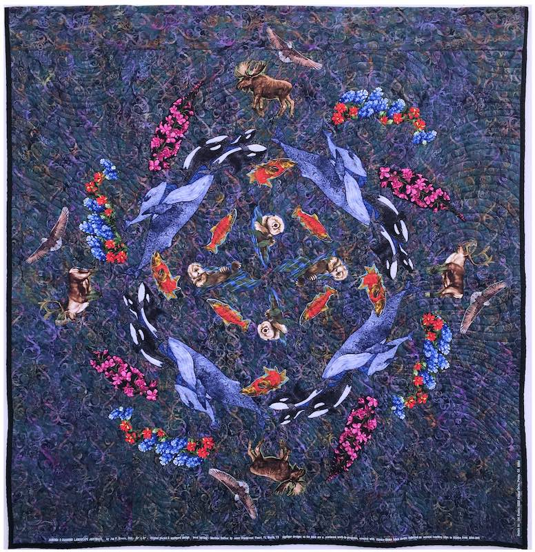Back of Aurora Quilt with Mandala